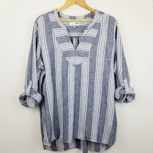 Old Navy Plus Womens Collarless Grey Striped Tunic